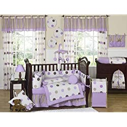 Sweet Jojo Designs Contemporary Purple and Brown Modern Polka Dot Baby Girl Bedding 9 piece Crib Set
