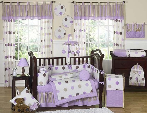 Sweet Jojo Designs Lavender Purple and Brown Modern Mod Polka Dots Baby Girl Nursery Crib Bedding Set with Bumper - 9 Pieces