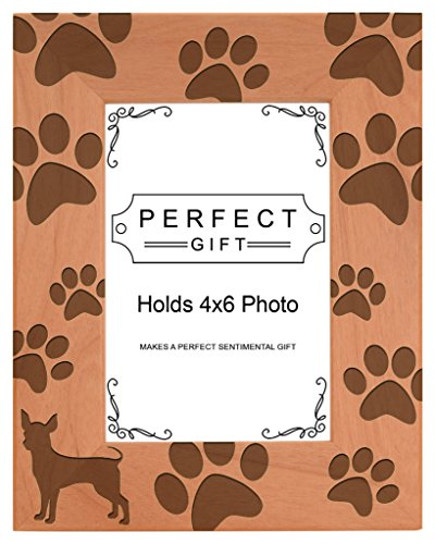(Gifts For All By Rachel Olevia Dog Lover Gift Chihuahua Paw Prints Natural Wood Engraved 4x6 Portrait Picture Frame Wood )