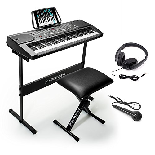 Hamzer 61-Key Portable Electronic Keyboard Piano with Stand, Stool, Headphones & Microphone (Beginners Piano Keyboard)