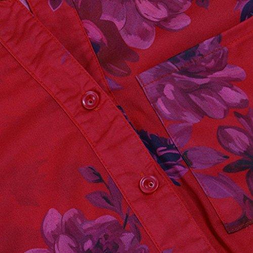 Camicette T Tops Lunghe ABCone Plus Pullover Camicie a Rosso Floreale Felpa Stampa V Shirt Donna Casual Elegante Autunno Maniche Scollo qUqrzABZ