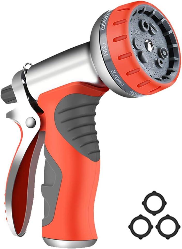 HmiL-U Garden Hose Nozzle Sprayer 9 Adjustable Watering Patterns Suitable for Watering Plants Washing Cars and Showering Pets Heavy Duty Metal High Pressure Water Gun