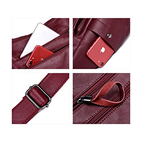 Lightweight Casual Waterproof Clutch Multi Bag Crossbody Leather PU Women's pocket Shoulder Shoulder Strap Red Adjustable Bag With Handbag NOTAG 7wPqXYx4