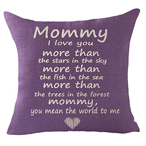 FELENIW Mommy i Love You More Than Star in The Sky The Fish in The sea The Trees in The Forest You Mean The World to me Throw Pillow Cover Cushion Case Cotton Linen Material Decorative 18x18 inches (Cushion Me Sea You And The)