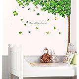 Prettywall Home Decor Mural Vinyl Wall Sticker Green Tall Tree with Falling Leaf Kids Nursery Room Wall Art Decal Paper