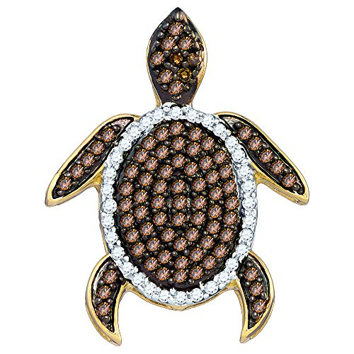 Sonia Jewels 10k White Gold Round Chocolate Brown Diamond Sea Turtle Tortoise Pendant (1/3 Cttw)