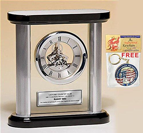 Engraved Gear DaVinci Clock Glass Pantel Silver Engraved Plate Retirement Gift Birthday Employee Coworker Service Award Wedding -
