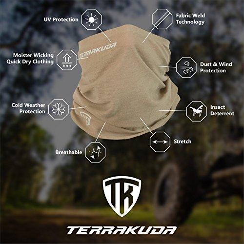 Terra Kuda Face Clothing Neck Gaiter Mask - Non Slip Light Breathable for Sun Wind Dust Bandana Balaclava (Desert Sand)