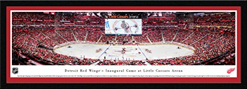 Detroit Red Wings, 1st Game at Lil Caesars - 42x15.5-inch Single Mat, Select Framed Picture by Blakeway Panoramas