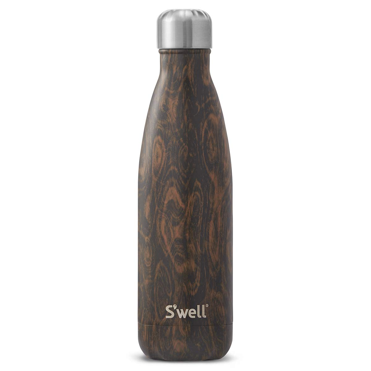 S'well Vacuum Insulated Stainless Steel Water Bottle, 17 oz, Wenge Wood