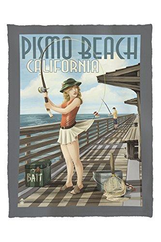 Pismo Beach, California - Fishing Pinup Girl (60x80 Poly Fleece Thick Plush - Pismo Stores Beach