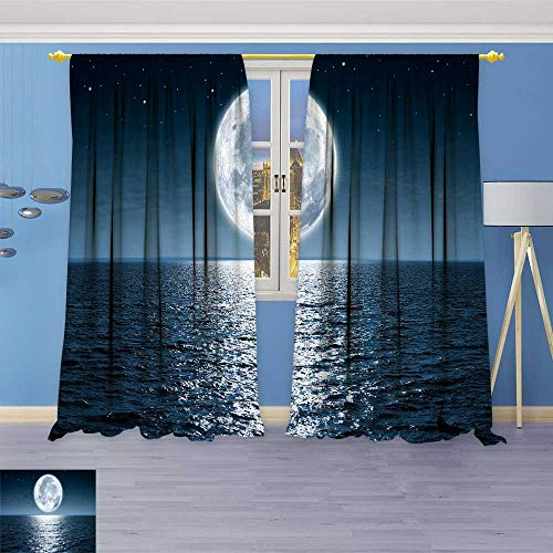 (SOCOMIMI Alta Pine Forest Design Collection,Full Moon RIS Over Empty Ocean at Night with Copy Space,Living Kids Girls Room Curtain, 84W x 84L inch)