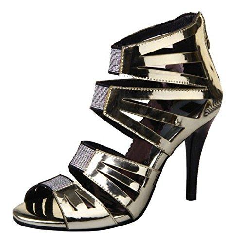 Coolcept Women Fashion Stiletto Sandals Zipper Gold BnaJt9nTjv