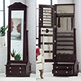 High End Luxury Modern Cabinet Organizer Mirrored Jewelry Stand Chest Armoire Set Solid Dark Espresso 20W x 15D x 63H in