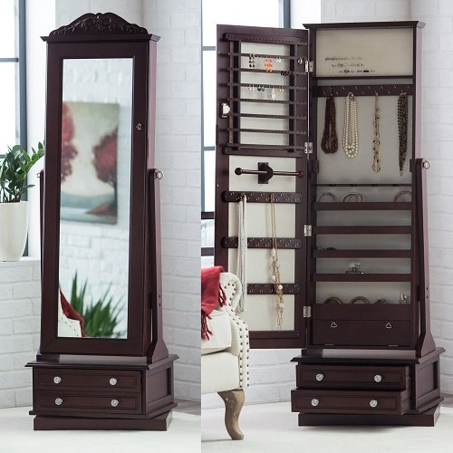 High End Luxury Modern Cabinet Organizer Mirrored Jewelry Stand Chest Armoire Set Solid Dark Espresso 20W x 15D x 63H - Shop Soho To Where In