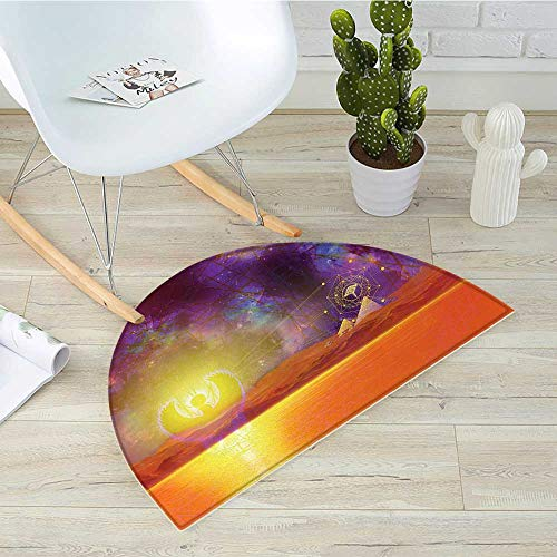 (Egypt Half Round Door mats Secret Proportion of The Universe Sign with Triangles and Lines Scenery Print Bathroom Mat H 47.2