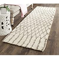 Safavieh Casablanca Shag Collection CSB860A Handmade Ivory and Grey Premium Wool & Cotton Runner (23 x 8)