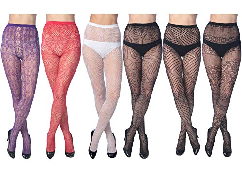 Nylon Pantyhose Fishnet Sexy - Frenchic Fishnet Women's Lace Stockings Tights Sexy Pantyhose Extended Sizes (Pack of 6) ... (Medium/Large, 1008 Colors)