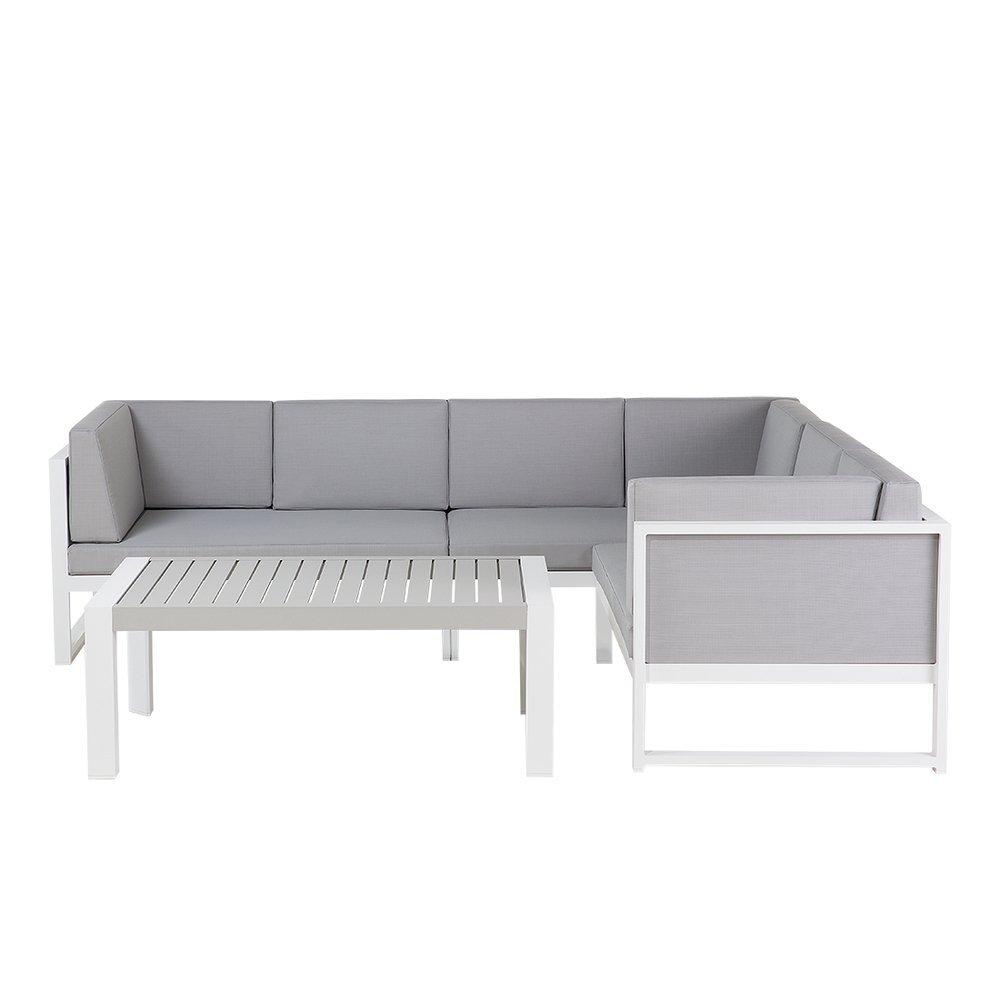Set da giardino in alluminio bianco e grigio - Divano angolare da esterno con tavolino da caffè - VINCI Beliani