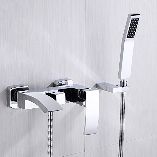 JinYuZe Modern Brass Waterfall Wall-mount Bath Tub Filler Faucet with Handheld Shower Head (with Hand Shower) (Faucet Bathtub Mount Wall)