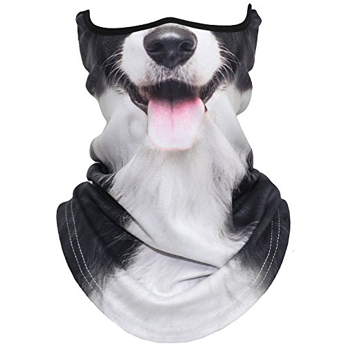 AXBXCX Animal 3D Prints Neck Gaiter Warmer Half Face Mask Scarf Windproof Dust UV Sun Protection for Skiing Snowboarding Snowmobile Halloween Cosplay Border Collie Dog