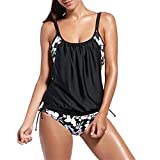 SUNNOW Women's Stripes Lined Up Push Up Floral Tankini Swimwear Beachwear