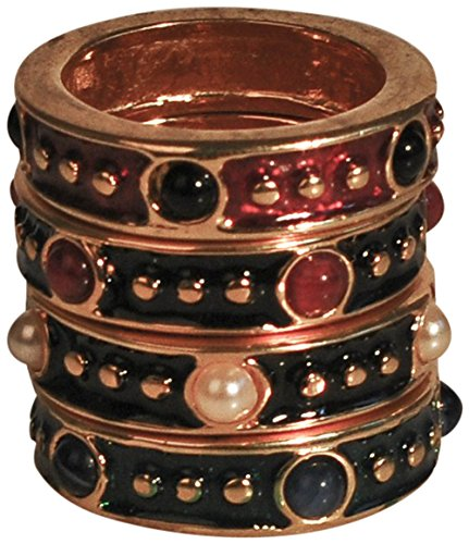 - HamptonGems ENAMEL STACKABLE RINGS WITH CONTRASTING CABOCHONS (Navy Enamel/Red Stone, 5)