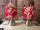 Pair of Lamps with metal base. Upholstered with pink Otomi fabric.
