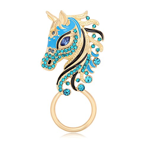 MANZHEN Unicorn Horse Magnetic Eyeglass Holder Magnetic Clip Blue Crystal Animal Brooch (Gold)