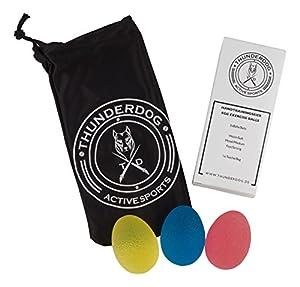 Thunderdog Active Sports - Handtrainer Egg Ei Set 3 Stück + passender edler...