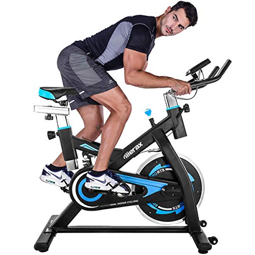 (Merax Exercise Bike Stationary Indoor Cycling Bike with 28lbs Flywheel Quiet Belt Drive Workout Bike for Home Cardio Gym (Black and Blue))