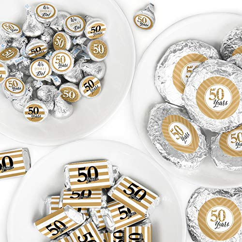 - We Still Do - 50th Wedding Anniversary - Mini Candy Bar Wrappers, Round Candy Stickers and Circle Stickers - Anniversary Party Candy Favor Sticker Kit - 304 Pieces