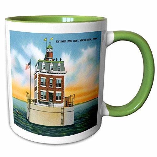 3dRose BLN Vintage US Cities and States Postcard Designs - Southwest Ledge Light, New London, Connecticut. Lighthouse - 15oz Two-Tone Green Mug (mug_169564_12) ()