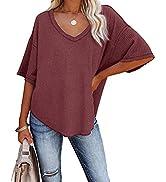REVETRO Womens Casual V Neck T Shirts Half Sleeve Loose Waffle Knit Tunic Tops Batwing Sleeve Blo...