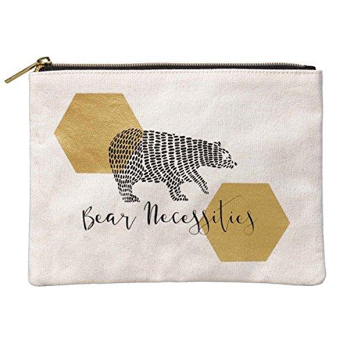 Folklore Bear Necessities 100% Cotton Canvas Zipper Cosmetic Storage -