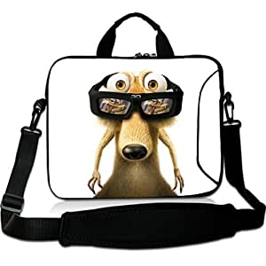 Brinchs Handmadecraft Cute Cartoon 15 15.6 Inch Laptop Shoulder Bag with Ice Age Dawn Of The Dinosaurs Waterproof Canvas Fabric Laptop / Notebook / MacBook / Ultrabook Computers(Twin Sides)