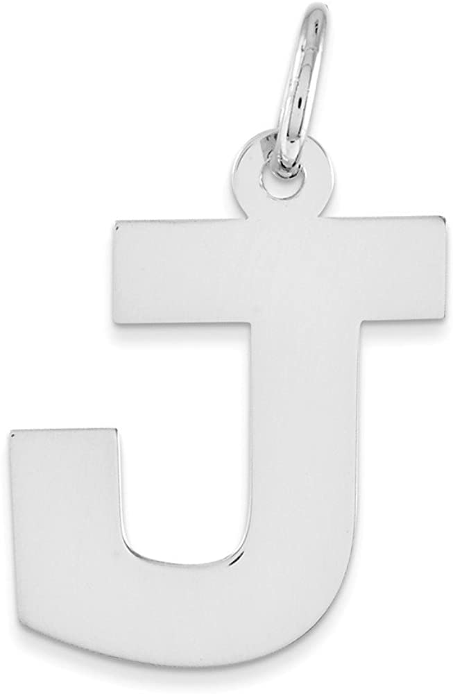 .925 Sterling Silver Medium Block Initial J Charm Pendant