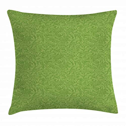 "Ambesonne Green Throw Pillow Cushion Cover, Pattern with Hand Drawn Leaves Grassland Growth Ecology Vegetation, Decorative Square Accent Pillow Case, 20"" X 20"", Lime Green"