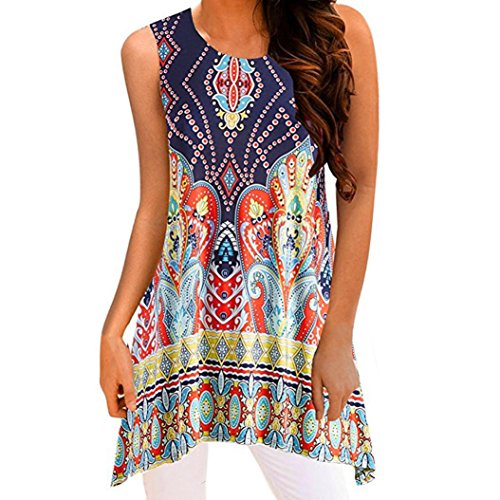 TOPUNDER Irregular Printing T-Shirt Sleeveless Blouse Loose Tunic Tank Tops for Women