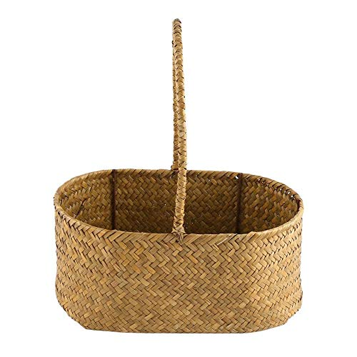 Basket Straw - 2 Pcs Set Oval Shaped Seagrass Weave Flower Basket Sundries Storage Tote Bag 77d - Herringbone Multicolor Rectangular Duty Extra Cubes Laundry Lids Organizer Rectangle Shelv ()