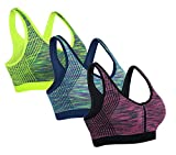 AM CLOTHES Womens Racerback Wirefree Sports Bra 3Pack-Stripe-Raspberry/Blue/Green Medium