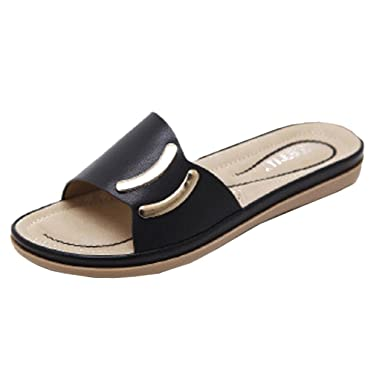 bdd61e6bec9f Women s Sliders OverDose Wide Fit Flat Sandals Casual Leather Sandals (36  ...