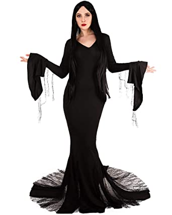 Amazoncom Miccostumes Womens Morticia Addams Dress Cosplay