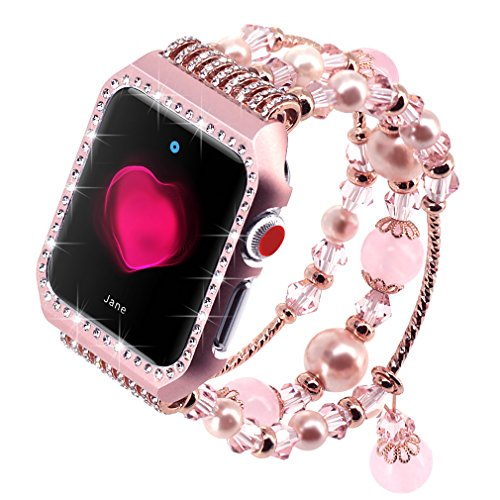 Falandi Apple Watch Band 38mm, Glittering Diamond Metal Rose Gold Case with Handmade Elastic Stretch Bracelet Fashion Women Girls Rhinestone Replacement Strap for iWatch Series 3/2 / 1(S, Pink-38mm)