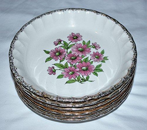 Vintage W. S. George Pink Daisy China Bolero Coupe Salad Soup Bowls, Set of 6