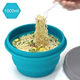 BlueBeach Microwaveable Collapsible Bowl Portable Compact Travel Bowl (34oz/1000ml) with lid for Camping Hiking Outdoor Commuters - Food Grade Silicone BPA Free Dishwasher Safe