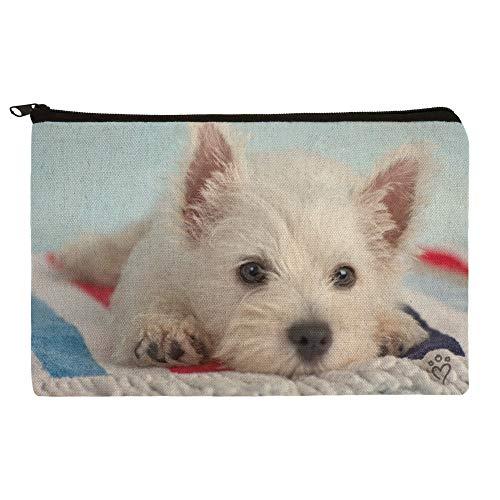 (West Highland Terrier Westie Puppy Dog Beach Towel Makeup Cosmetic Bag Organizer Pouch )