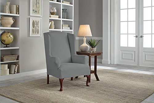 Serta 1 Piece Reversible Stretch Suede T Wingback Chair Slipcover, Steel Gray Herringbone/Gray Solid by Serta (Image #3)