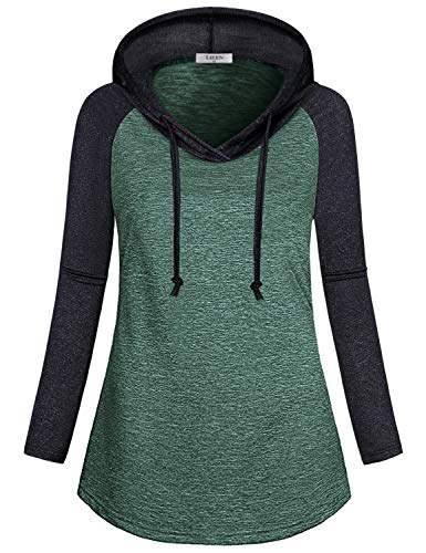 LIEEN Pullover Hoodie Women, Ladies Thin Lightweight Yoga Sporty Drawstring Jersey Hoody Hiking Walking Performance T-Shirt Fitted Starter Fitness Power Sweatshirt Tops Heather Green XL (Performance Hoody)