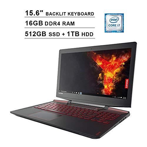 2020 Lenovo Legion Y720 15.6 Inch FHD 1080P Gaming Laptop, Intel 4-Core i7-7700HQ up to 3.8GHz, GeForce GTX 1060 6GB, 16GB DDR4 RAM, 512GB SSD (Boot) + 1TB HDD, Backlit KB, Windows 10 (Black)